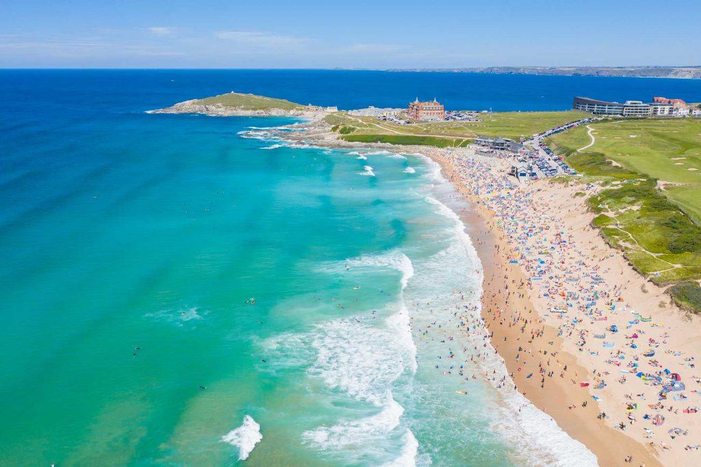 Fistral beach Newquay Cornwall aerial